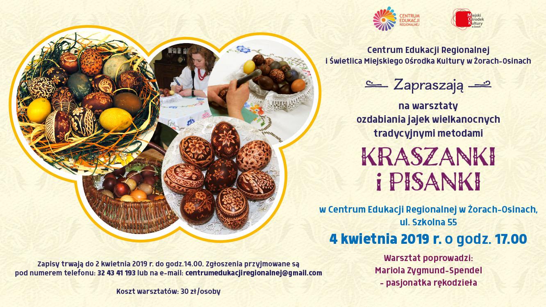 Warsztaty pt. KRASZANKI I PISANKI. Zapisy w Centrum Edukacji Regionalnej w Żorach.